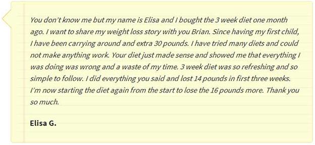 3 week diet testimonial 1