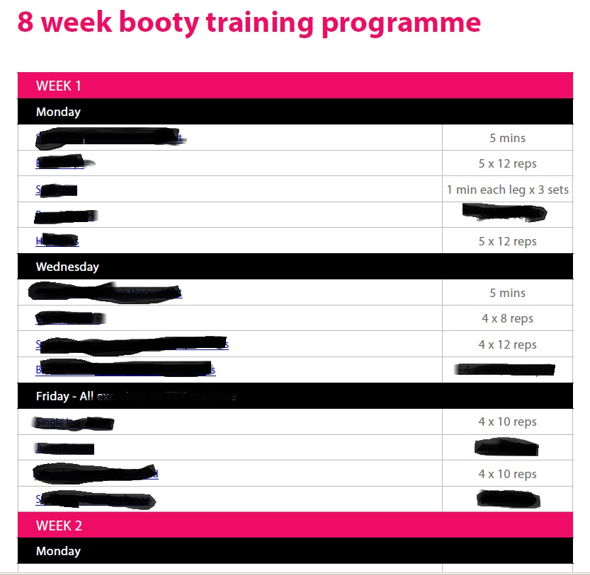 8 week booty training programme sneek peak