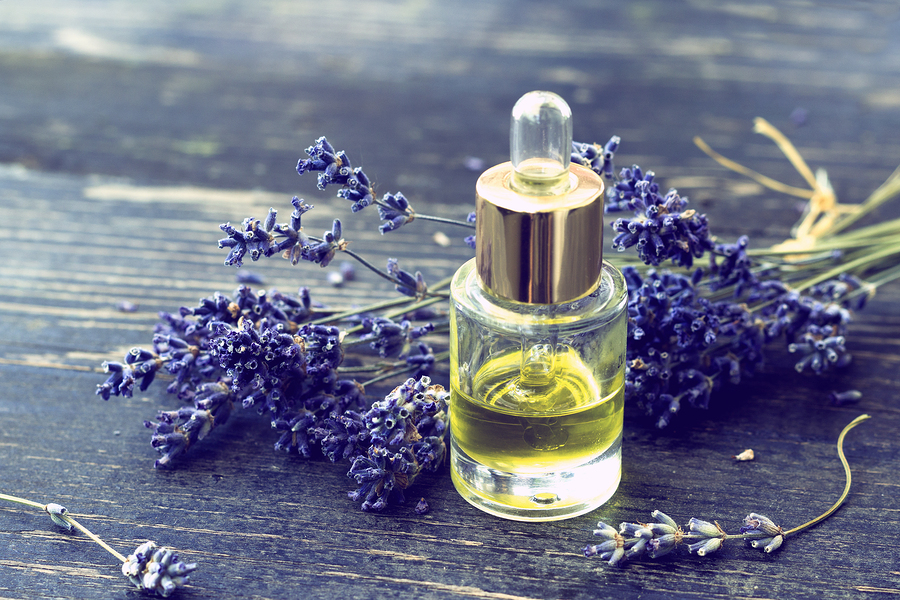 bottle of lavander oil used as home remedy for toenail fungus