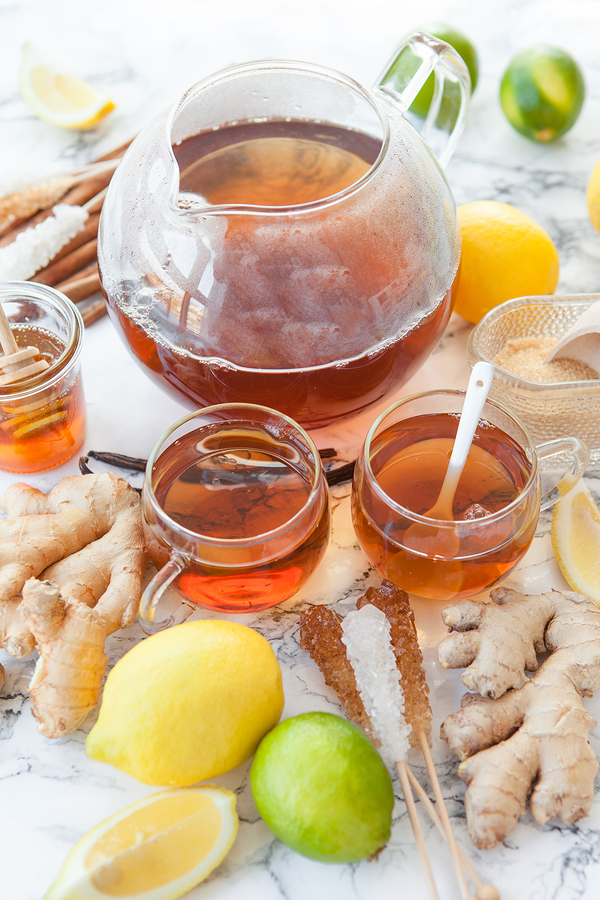 ginger and lemon infusion for a sore throat