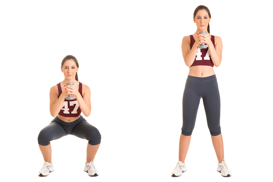 dumbbell deep squats for inner thigh fat