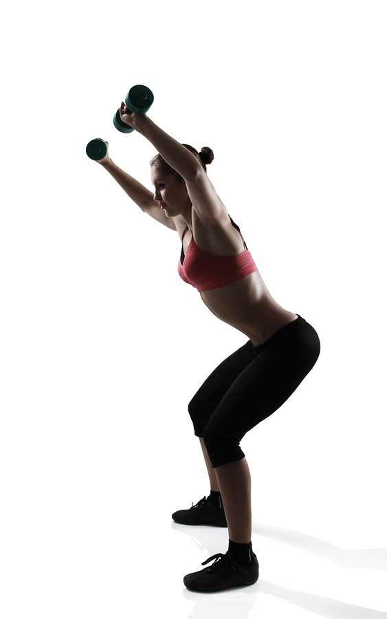 half squats with dumbbells to get rid of inner thigh fat