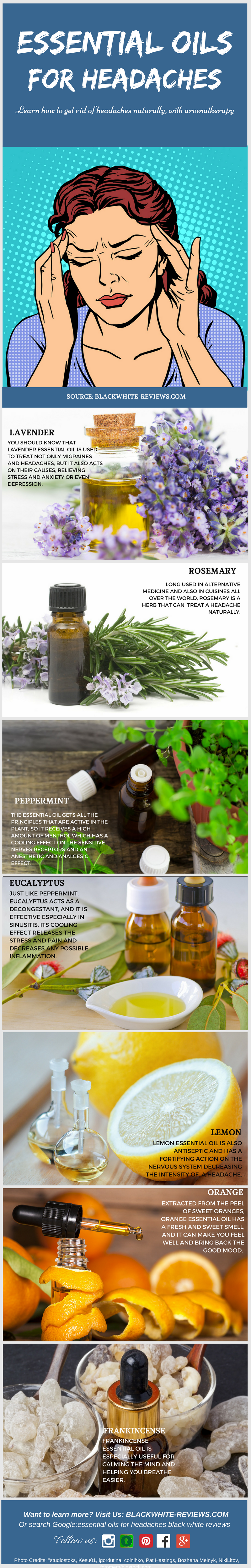 essential oils for headaches -infographic